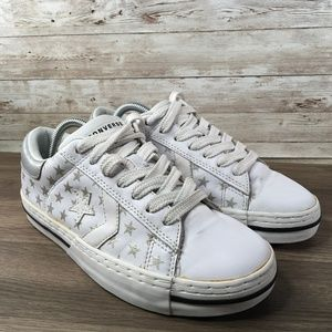 Converse Ox Low Top White Leather Silver Stars